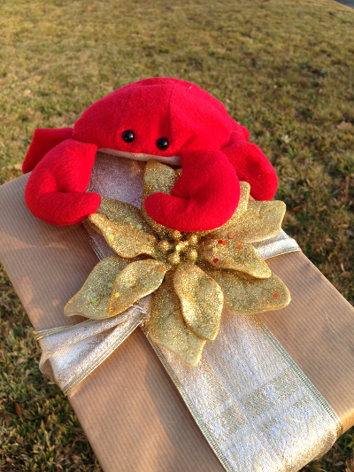 Crabby with present